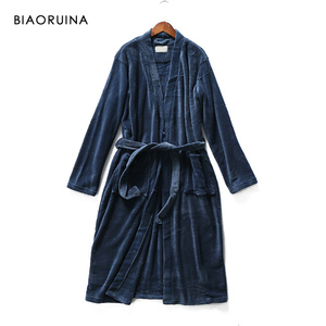 Image 5 - BIAORUINA Women All match Red Coral Fleece Solid Robes Female Casual Warm Sleeping Robes Womens Thick Everyday Robes