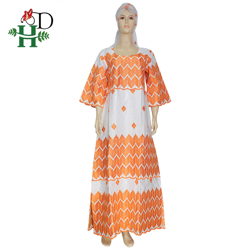 H&D  New African Dresses For Women Top Bazin African Traditional White Clothing Long Sleeve For Ladies With Scarf
