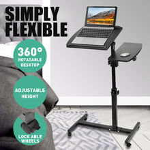 Black Adjustable Height Laptop Stand Rolling Cart Desk Computer Table Desk Bed Sofa Tray Rolling Notebook Desk with Wheels