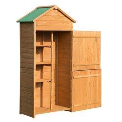 Outsunny Huisje Met Dubbele Deur Opbergdoos 3 Planken Houten Tuin 89X50X190 Cm