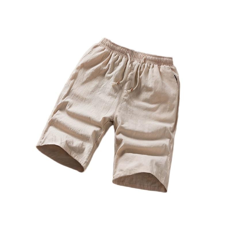 Nice Pop Men Shorts XL -5XL Cotton Linen Summer Big Elastic Sports 51 VogueLoose White