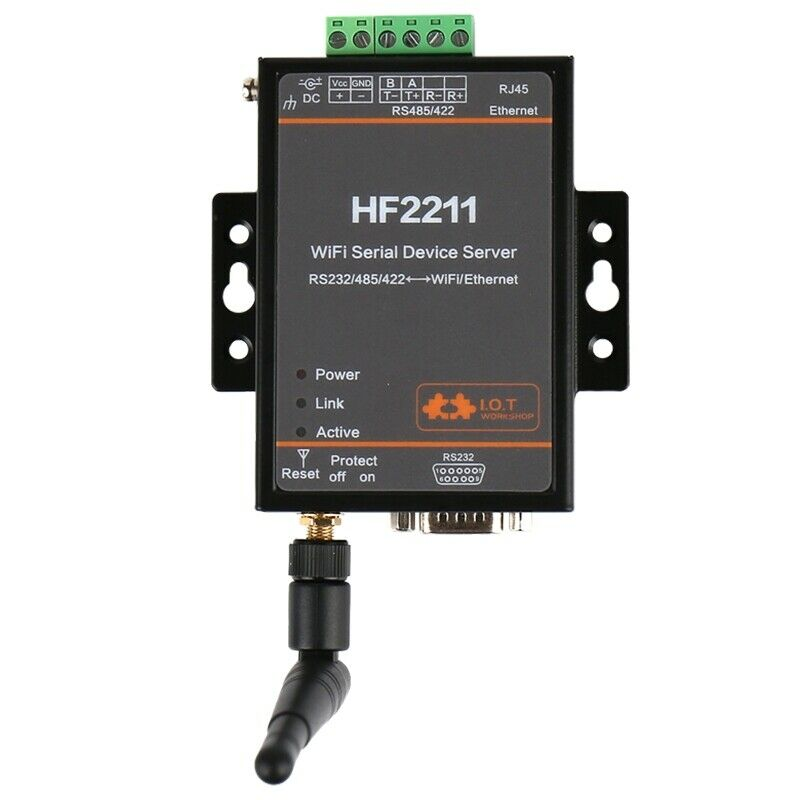 WIFI Serial Server RS232 RS485 To RJ45&WIFI Server Wifi Converter RS232/RS485/Ethernet Interface DTU HF2211 To Replace HF-H100