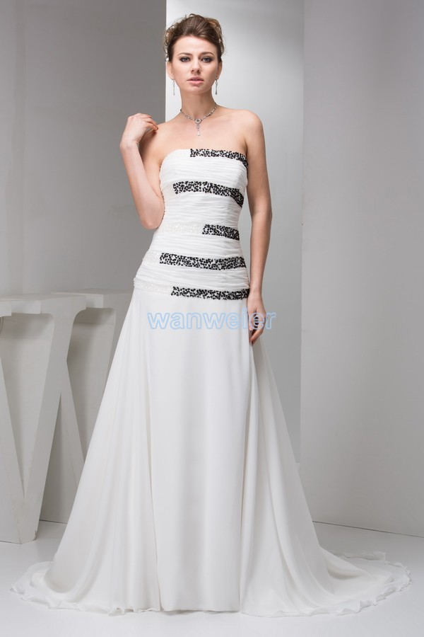 Free Shipping 2016 New Design Small Train Beading Brides Maid Dress Hot Seller Formale Custom Size/color White Bridesmaid Dress