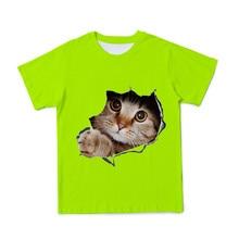 Verão nova bonito animal gato camiseta dos desenhos animados 3d impressão meninos e meninas casual camiseta babys engraçado crianças o-pescoço 4t-14t