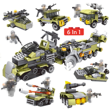 6 In 1 WW2 Soldier Trucks Military Building Blocks Army Weapon Tanks Car Helicopter Figures Bricks Set For Children Toys Gifts цена 2017