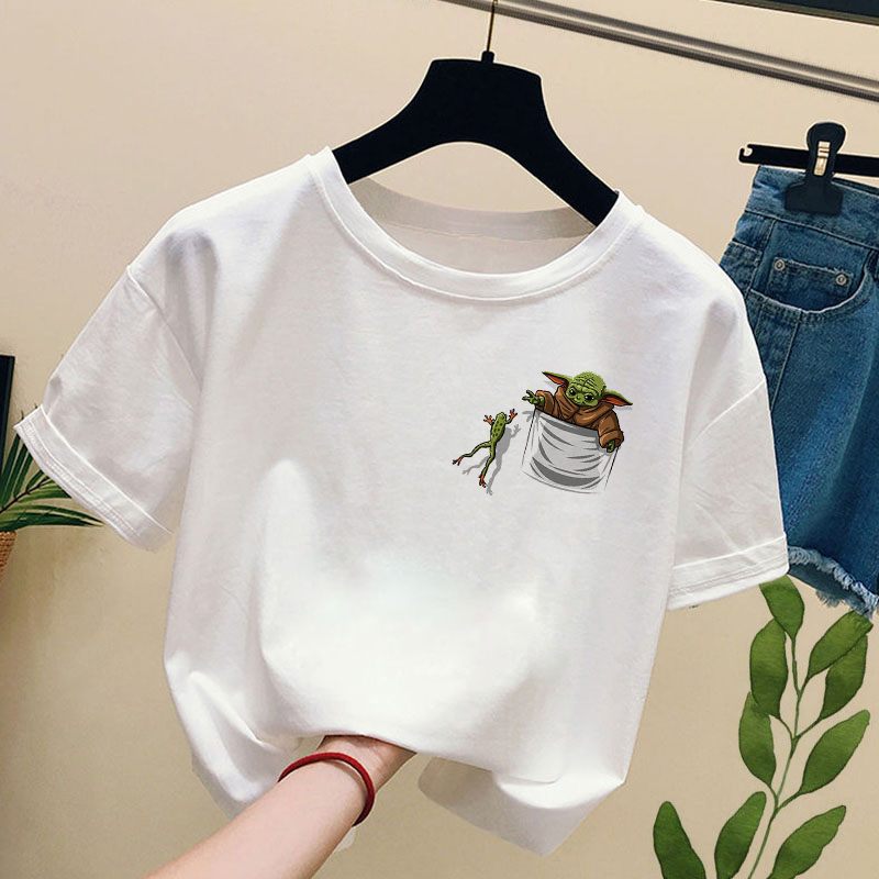 Baby Yoda in Pocket Catching Frog t-shirt women fashion star wars Short Sleeve t shirts casual round neck tee tops image