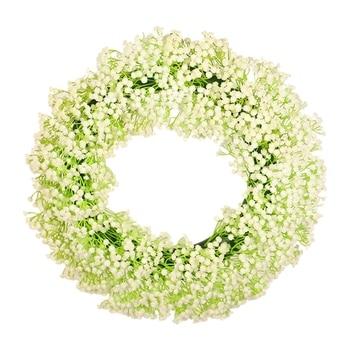 NEW-Artificial Star Wreath Decorative Home Wall Artificial Baby's Breath Garland Wedding Prop Decoration