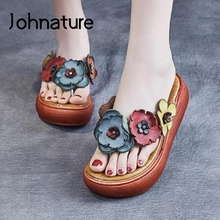 Johnature Women Slippers Genuine Leather Flip Flops Summer Women Shoes 2021 New Floral Wedges Concise Platform Ladies Slippers