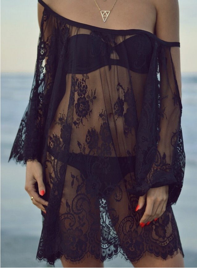 Europe And America Camisole Transparent Hollow Out Lace Off-Shoulder Beach Sexy Dress Blouse Sun Shirt