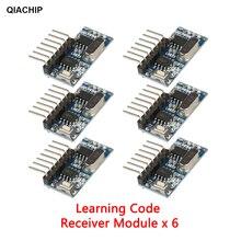 QIACHIP 6pcs 433Mhz 4CH RF למידה קוד 1527 מפענח מקלט 4 לחצן שלט רחוק מתג עבור Arduino Uno מודול חכם בית