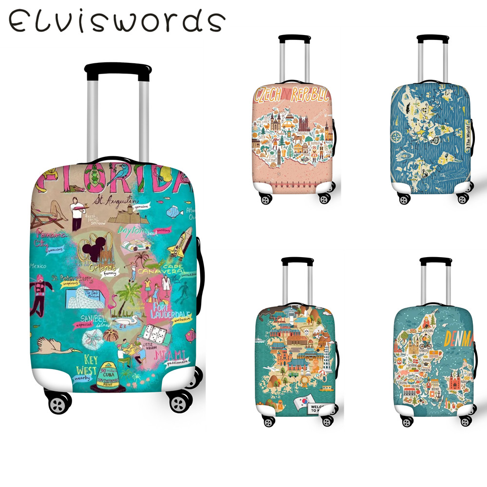 Protective covers for luggage Elastic waterproof Suitcase Cover World map Design Travel Goods Size 18-32 inch Luggage tag
