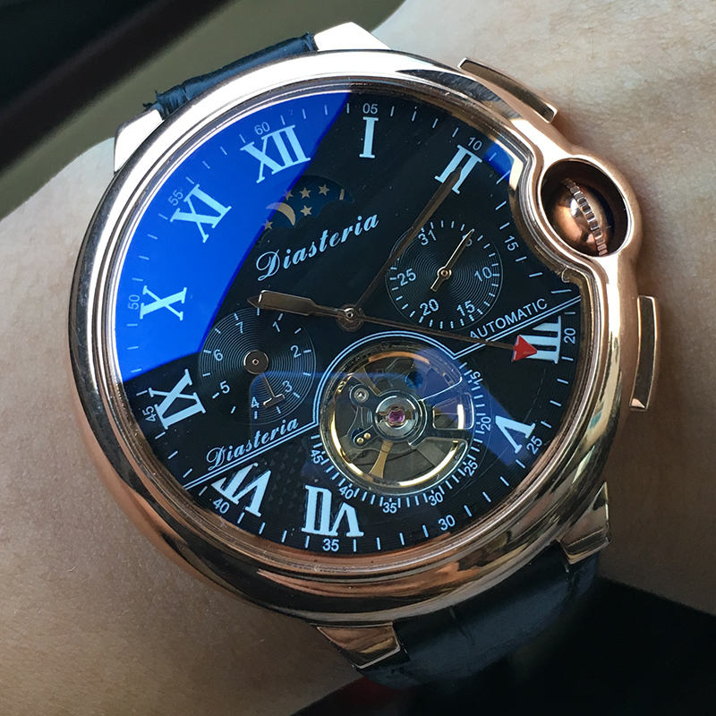 Top Luxury Brand Tourbillon Skeleton Automatic Mechanical Watch Men Complete Calendar Moon Phase Waterproof Watch Mens DIASTERIA