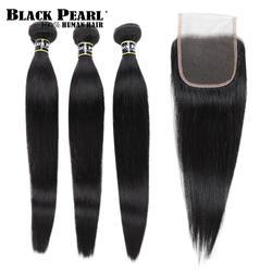 Черный жемчуг предварительно цветной 3 Связки с закрытием прямые человеческие волосы Связки с бразильские волосы с закрытием Weave Связки не