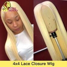 Facebeauty-perruque Lace Closure 4x4, cheveux Remy brésiliens lisses, blond miel 613, 8- 28 pouces, Front Lace Closure Wig