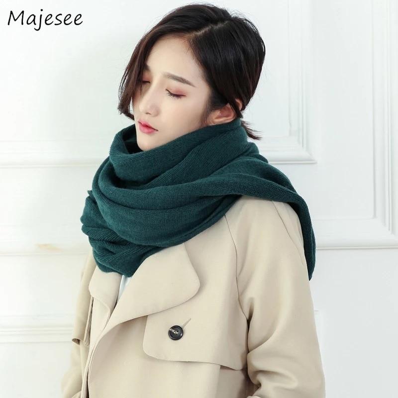 Шарфы Женские однотонные длинные женские зимние теплые шарфы универсальные корейский стиль розовый Сладкий Harajuku мягкий высокое качество