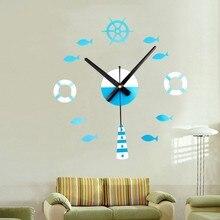 New Mediterranean Style DIY 3D Wall Clock Creative Small Fish With Mute Decorative Pendulum Mirror Hot Sale