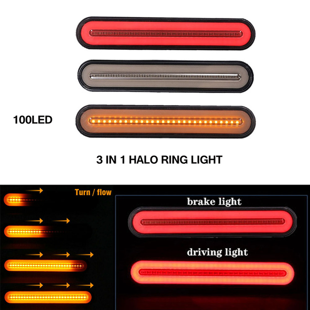 2x Waterproof LED קרוואן משאית בלם אור 3 in1 ניאון Halo טבעת זנב בלם עצור הפעל אור סדרתית זורם אות אור מנורה