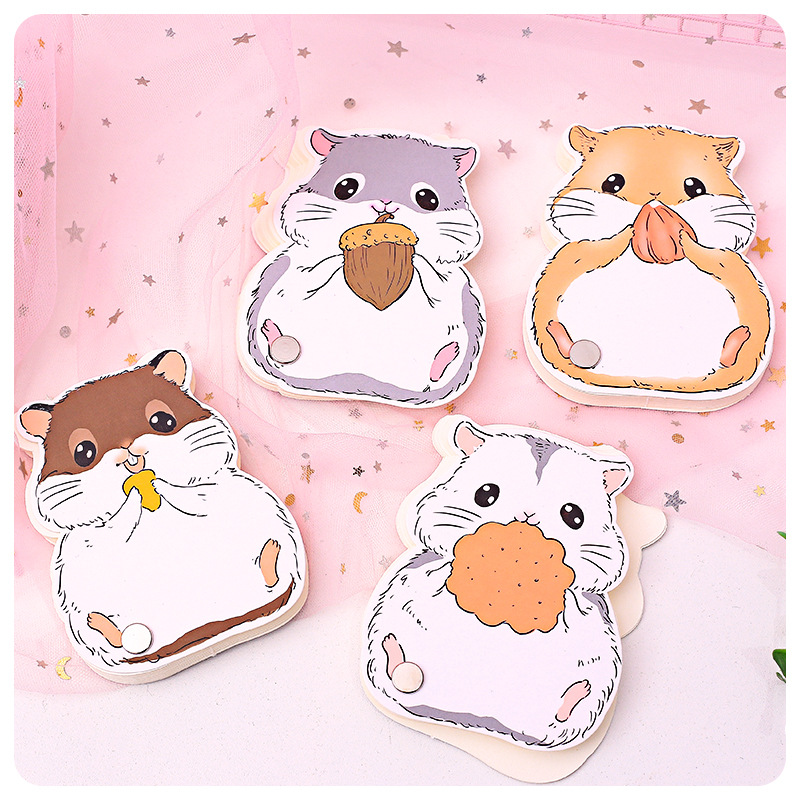Cute Hamster Portable Rotate Memo Pad Notebook School Office Supply Notepad Student Stationery 50 Pages