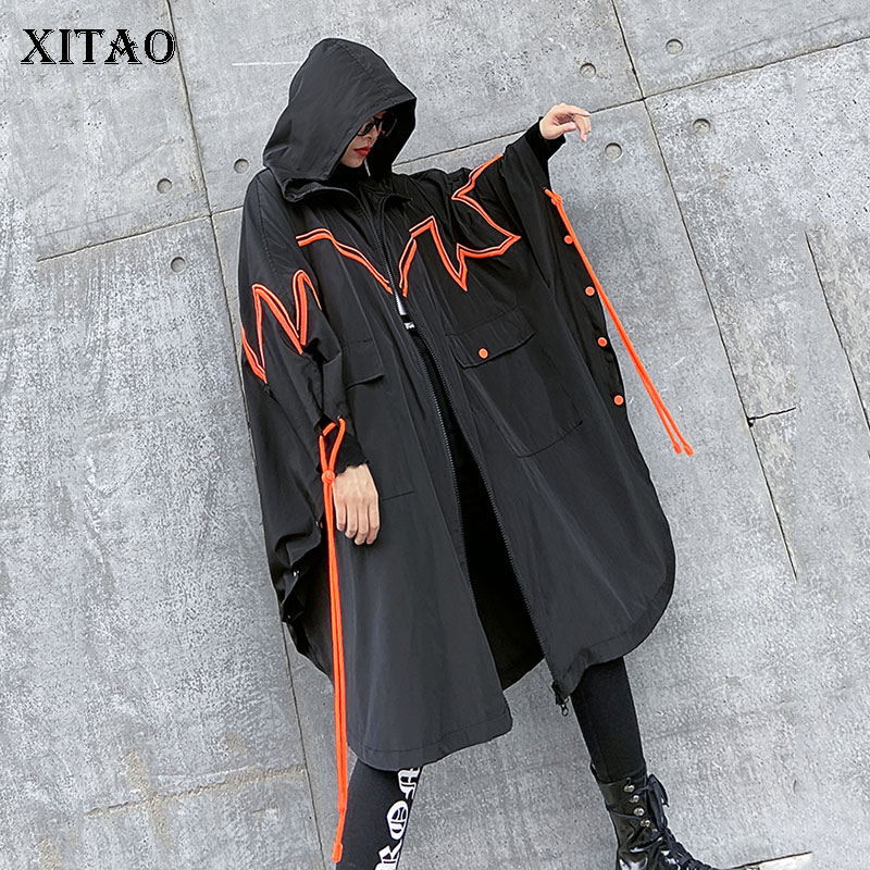 XITAO Personality Plus Size Trench Coat For Women Streetwear Bat Sleeve Oversized Hooded Windbreaker Spring New 2020 XJ3727