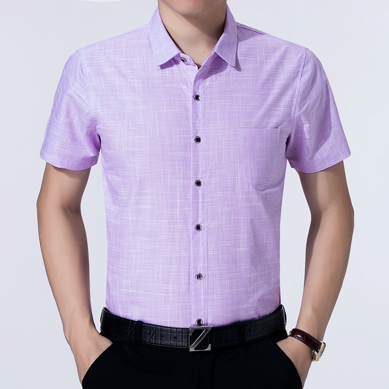 19 Summer Shirt MEN'S Short Sleeve Really Pocket Thin Casual No Ironing Plaid Tops Middle-aged Loose-Fit MEN'S Shirt