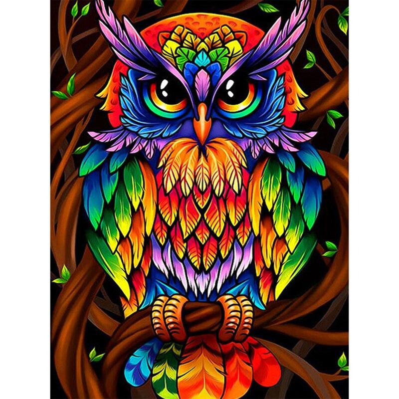 LZAIQIZG Official Store Diamond Painting Colorful Cartoon Owl Diamond Embroidery Full Set Diamond Mosaic Rhinestone Decorations