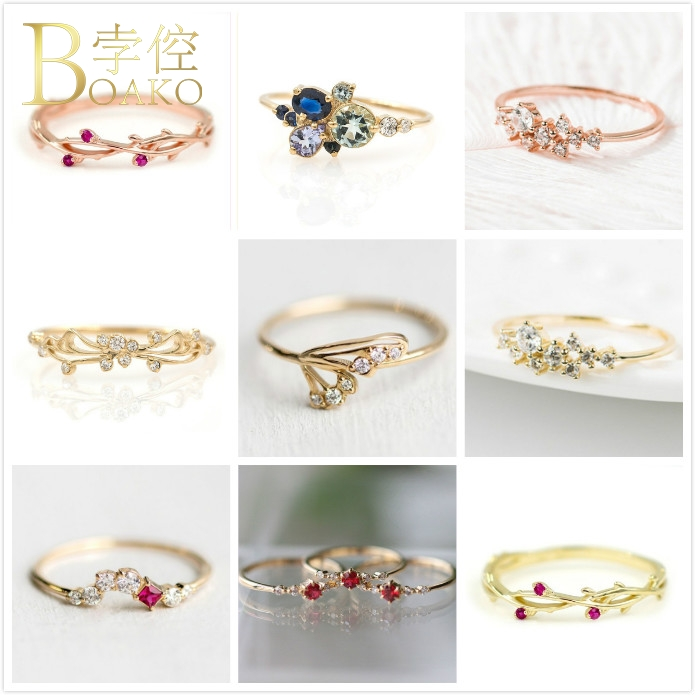 BOAKO Thin Ring Crystal Flower Rings For Women Wedding Engagement Girl Dainty Bridal Rose Gold anillo Party Jewelry K5