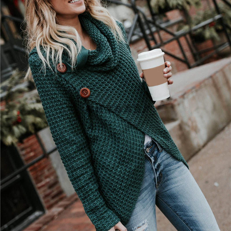 Women Knitted Sweater Long Sleeves LADY Irregular Hem Button Loose Tops For Autumn