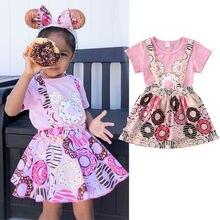 Летняя одежда Pudcoco для маленьких девочек с принтом пончиков топ-боди с коротким рукавом для новорожденных Милая одежда
