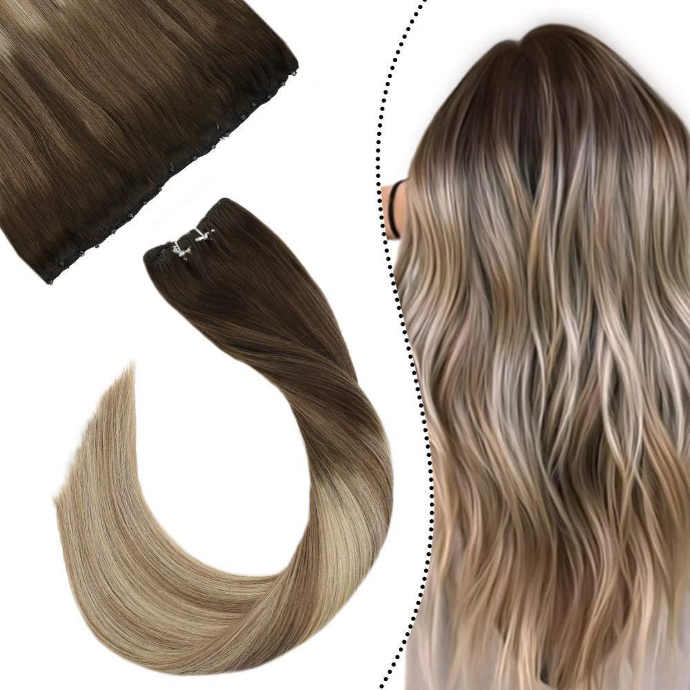 "Ugeat micro grânulo trama extensões do cabelo humano 12 ""largura 14-24"" máquina remy cabelo humano balayage loira cor cabelo fácil trama 50g"