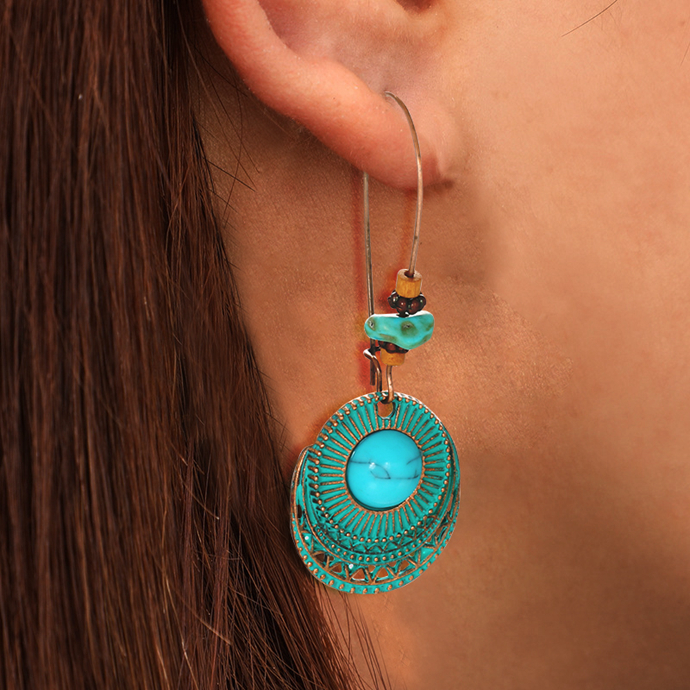New Women Vintage Brown Pattern Turquoise Multilayer Drop Necklace Earring Hook