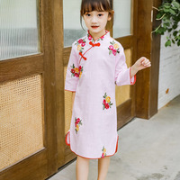 Chinese Cheongsam Princess Dress Baby Summer Girls Dress For kids Clothes long sleeve Cotton Princess Cute Sweet Dress