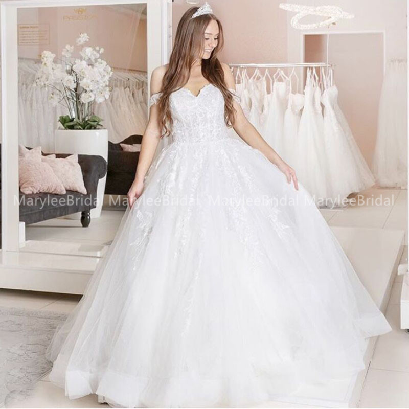 Elegant Off Shoulder Ball Gown Bride Wedding Dress Princess Vestidos De Noiva Made To Measure Sweep Train Vestido Casamento