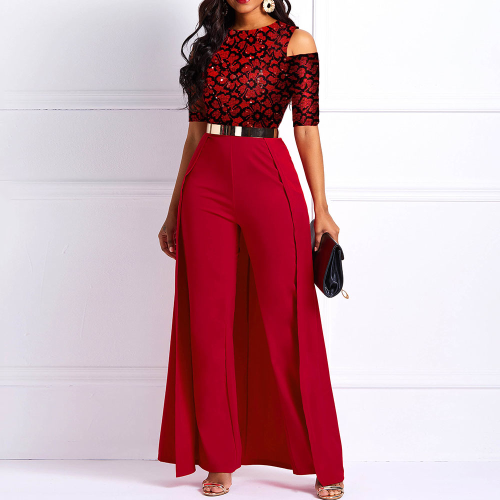Wide Legs Sexy Jumpsuits Print Stitching Women Shoulder Hole Long Sleeve 2020 Casual Elegant Office Ladies Swallowtail Jumpsuits