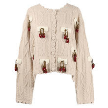 Shuchan Womens Leisure Clothing Knit Sweater Women designer Casual  Appliques korean sweater cardigan women autumn winter