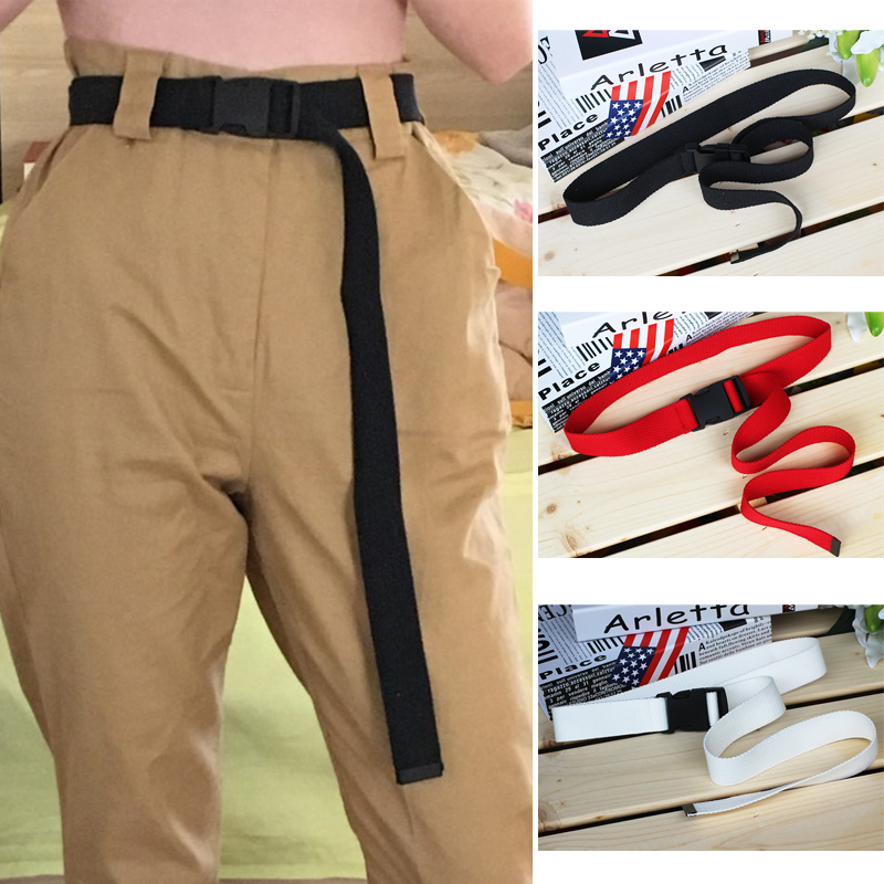 120cm Candy Colors Women Men Canvas Belt Plastic Buckle Tactical Long Red Black Straps Unisex Casual Boys Girls Jeans Belts