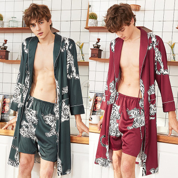 New silk pajamas summer men shorts nightgown home service two-piece suit / animal pattern man