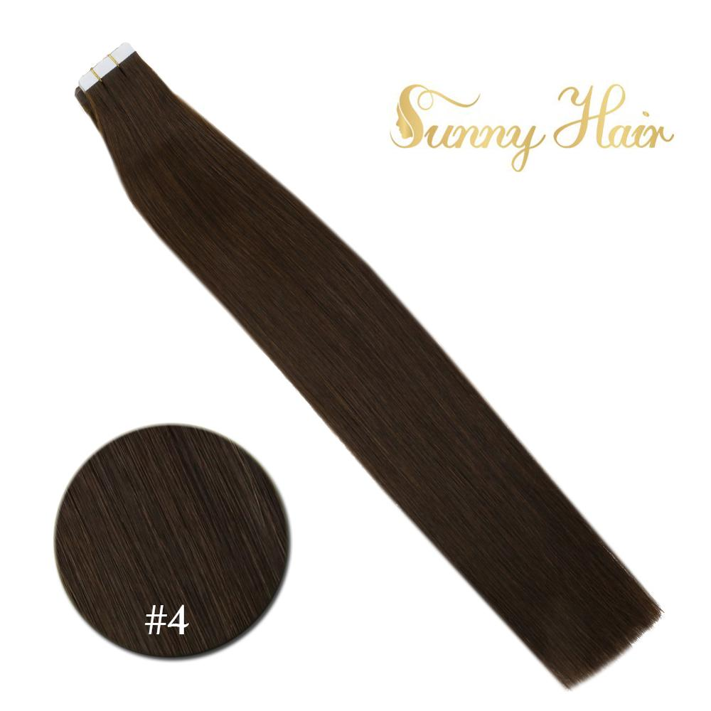 VeSunny Tape In Hair Extensions Human Hair 20pcs Chocolate Brown #4 Remy Quality European Adhesive PU Hair 50gr 2.5gr/pc