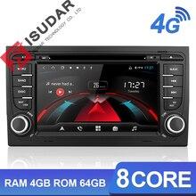 Isudar H53 سيارة مشغل وسائط متعددة 2 الدين راديو تلقائي الروبوت لأودي/A4/S4 2002 2008 GPS DVD 8 النواة RAM 4 GB ROM 64 GB DVR DSP
