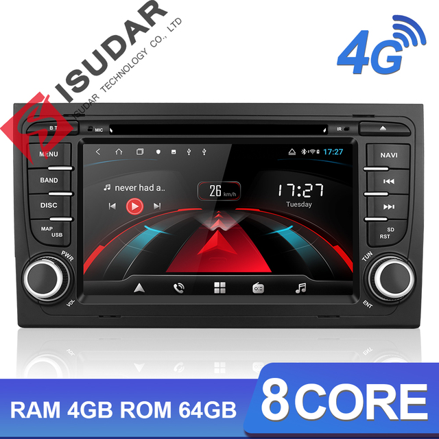 Lecteur multimédia de voiture Isudar H53 Radio automatique 2 Din Android pour Audi/A4/S4 2002 2008 GPS DVD 8 Core RAM 4 GB ROM 64 GB DVR DSP