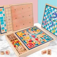 Kinder Multifunktionale Brettspiel Schach Holz Fliegen Schach Checkers Gobang Chinesischen Schach Erwachsene eltern-kind-Spiel