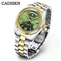 CADISEN Neue Grün Uhr Männer Automatische Mechanische Top Marke Luxus Uhr Business Wasserdicht MIYOTA 8285 Bewegung Herren Armbanduhr