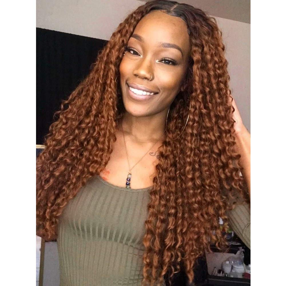 180 Density Lace Wig Ombre Brown Colored 13X4 Deep Part Lace Front Human Hair Wigs For Woman Glueless Malaysian Curly Wig Remy