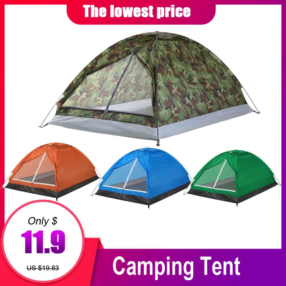 TOMSHOO 2 kişi su geçirmez kamp çadırı PU1000mm Polyester kumaş tek katmanlı çadır açık seyahat yürüyüş 200*130*110cm