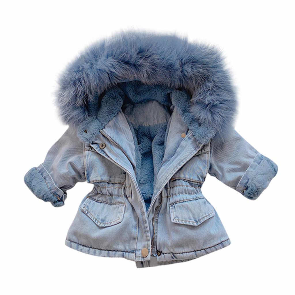 2019 Winter Baby Girl Denim Jacket Plus Velvet Real Fur Warm Toddler Girl Outerwear Coat 1-5 Years Kids Infant Girl Parka Cowboy