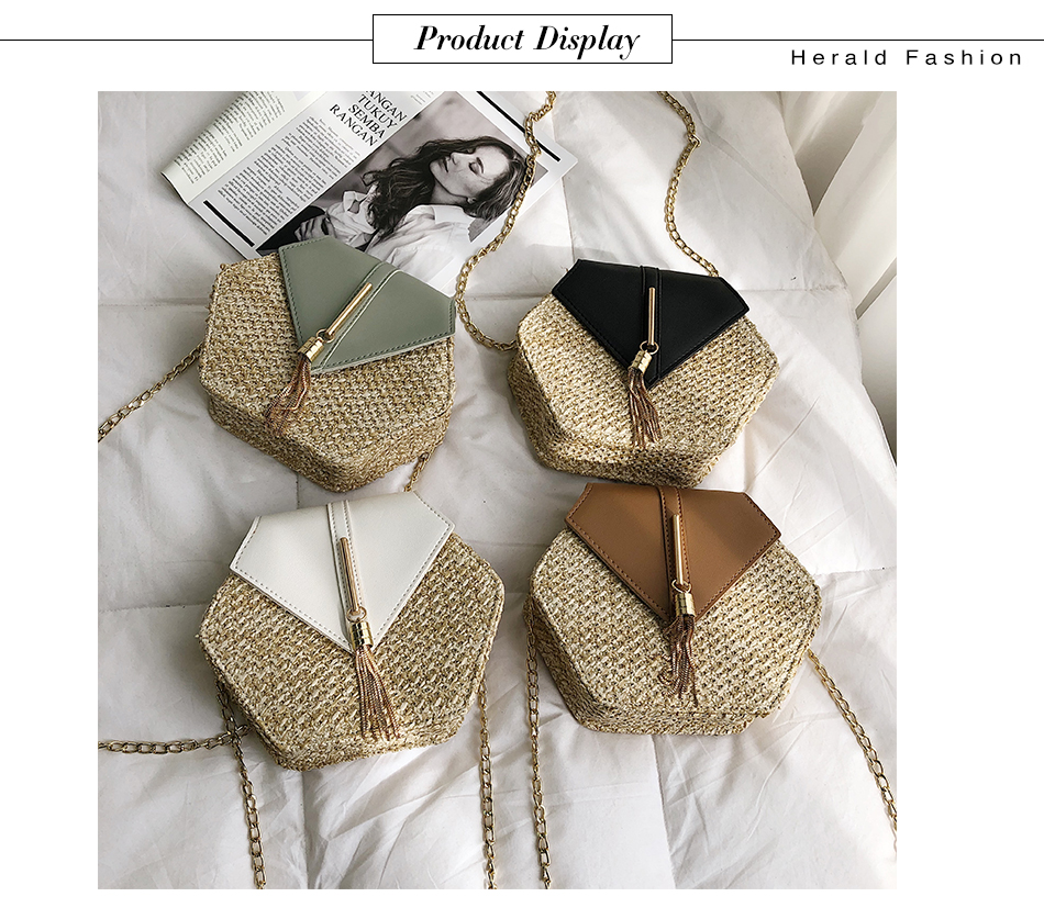H408c8088cebc4a7eb49ed986b857c3fcF - Mulit Style Straw leather Handbag Women Summer Rattan Bag Handmade Woven Beach Circle Bohemia Shoulder Bag New Fashion