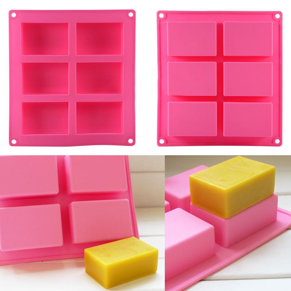 1 Pc 6-Cavity Plain Rectangle Soap Mold Silicone Craft DIY Cake Making Mould