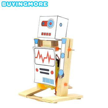 DIY Wooden Electric Science Walking Robot Toy Model Kit Assembly Toys for Boys Creative Physics Experiment Educational Toys Gift недорого
