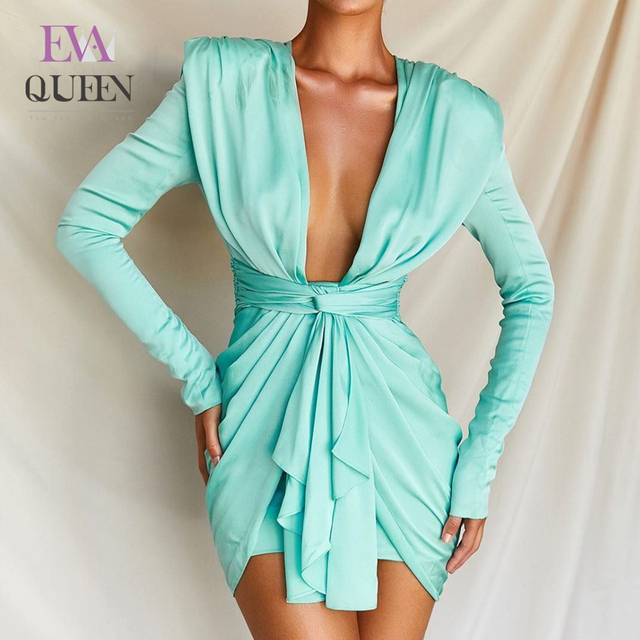 EvaQueen Sexy Bodycon Sexy Dress Women Deep V Neck Party Dress Elegant Wrap Long Sleeve Bandage Dress Summer Autumn Vestidos
