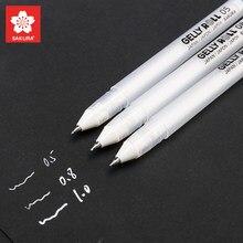 Sakura 3 pçs gelly rolo clássico destaque caneta gel canetas de tinta branco brilhante caneta destaque marcadores cor destaque