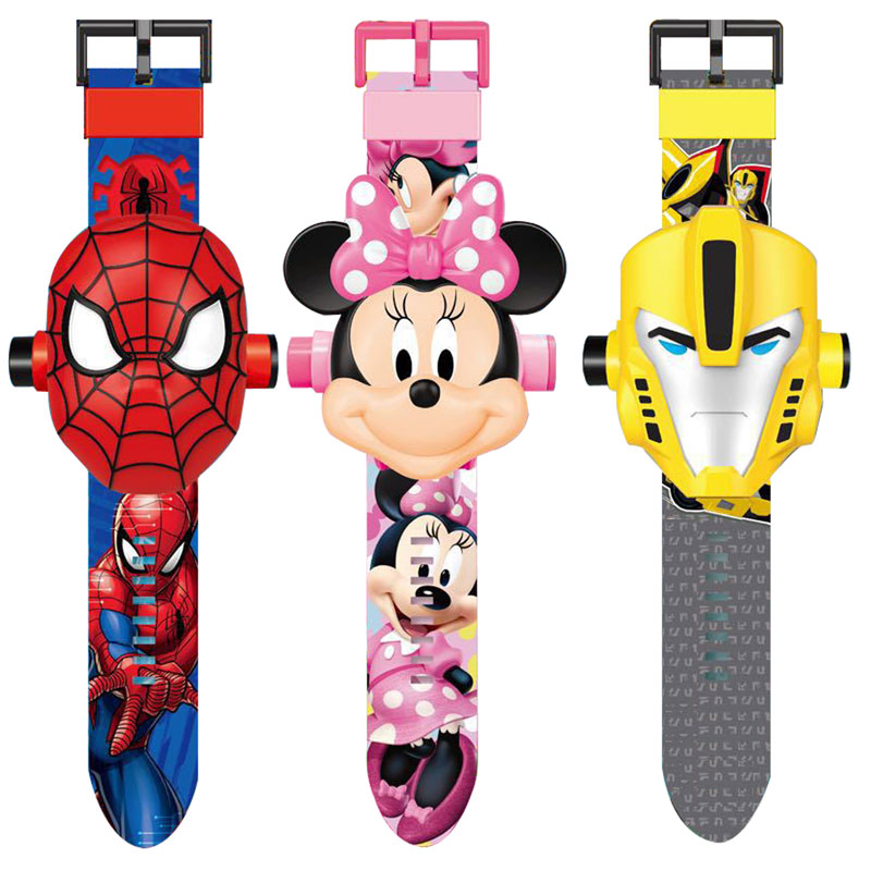Children Watches New 3D Projection Spiderman Ironman  Kids Cartoon Pattern Girls Children  Watch Digital Wristwatches